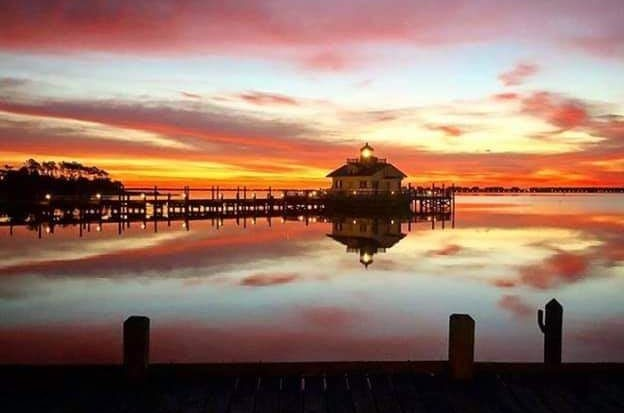 Downtown Manteo Waterfront Lighthouse at Sunset on the Docks
